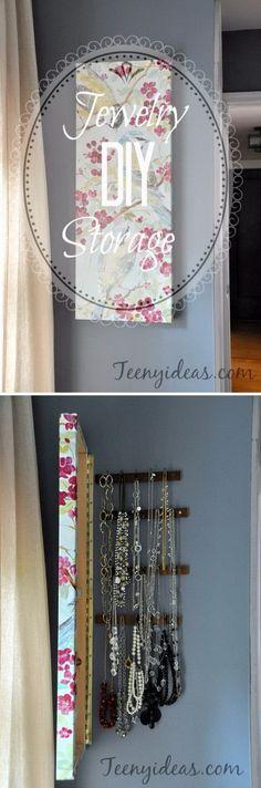 DIY Wall Canvas with Hidden Jewelry Storage. This DIY wall canvas with hidden…