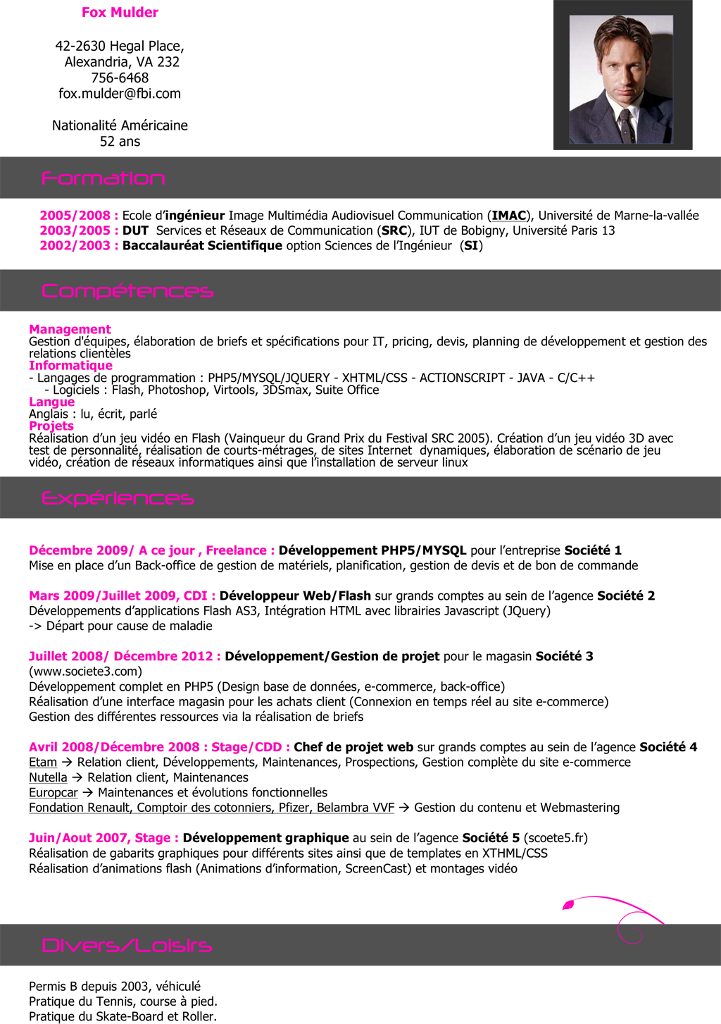 cv p ingenieur informatique