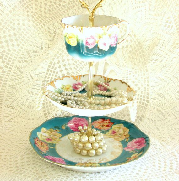 Teal 3 Tiered Jewelry Holder or Mini Cake Plate Dessert Display Tray Stand Vintage China Mad Hatter Party Centerpiece by High Tea for Alice by ...  sc 1 st  Pinterest & Teal 3 Tiered Jewelry Holder or Mini Cake Plate by HighTeaForAlice ...