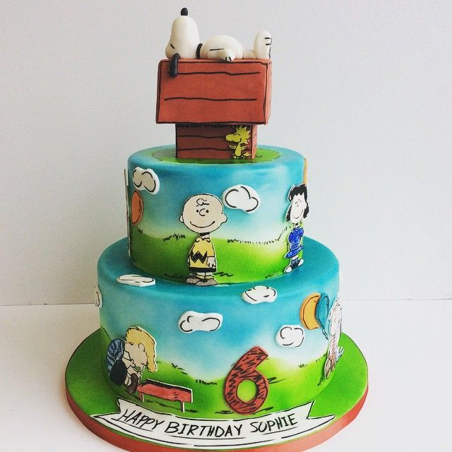 Charlie Brown and Snoopy Peanuts birthday cake Amy Beck Cake