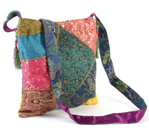 FAIR TRADE PADDED COTTON EMBROIDERED HIPPY BOHO SHOULDER SHOPPING BAG