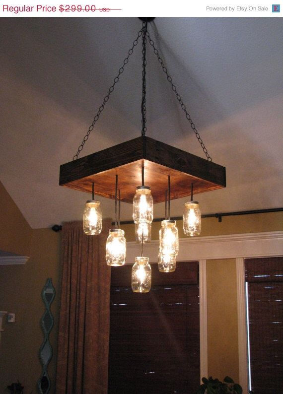 Mason Jar Chandelier a DIY project: With Our Barn Wood