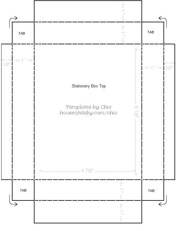 "Printable Template For 4"" X 6"" Stationary Box 