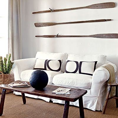 Decorating Nautical With Wooden Oars As Wall Decor Rods Racks And Handrails