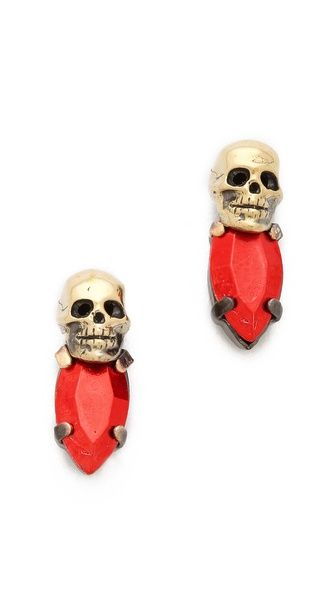 c72f8c5e8 Fused Stone Skull Stud Earrings | Girly-Ness | Skull earrings ...