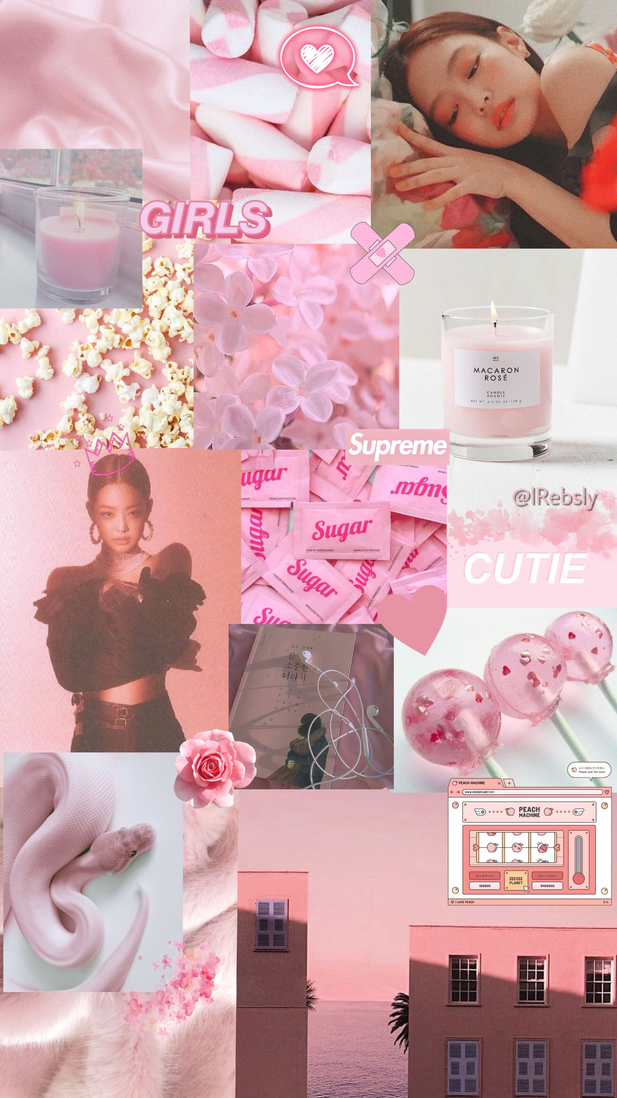 Jennie Pink And White Wallpaper