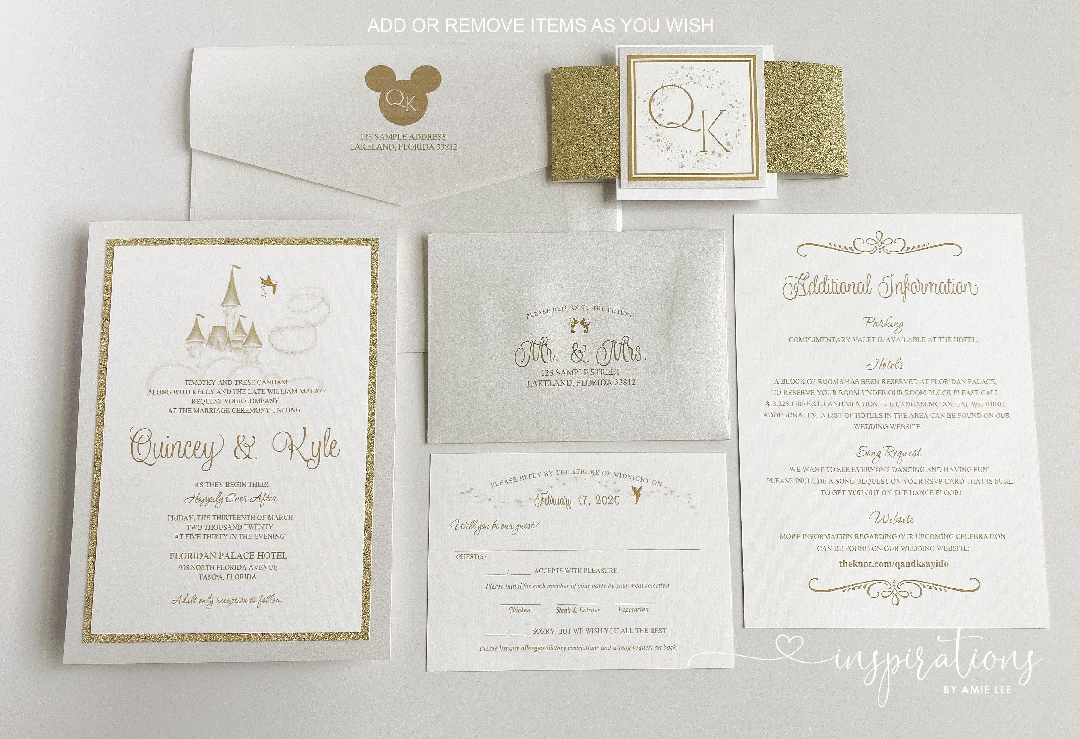 Elegant Disney Wedding Invitations Fairy Tale Wedding Etsy Disney Wedding Invitations Wedding Invitation Templates Wedding Invitations