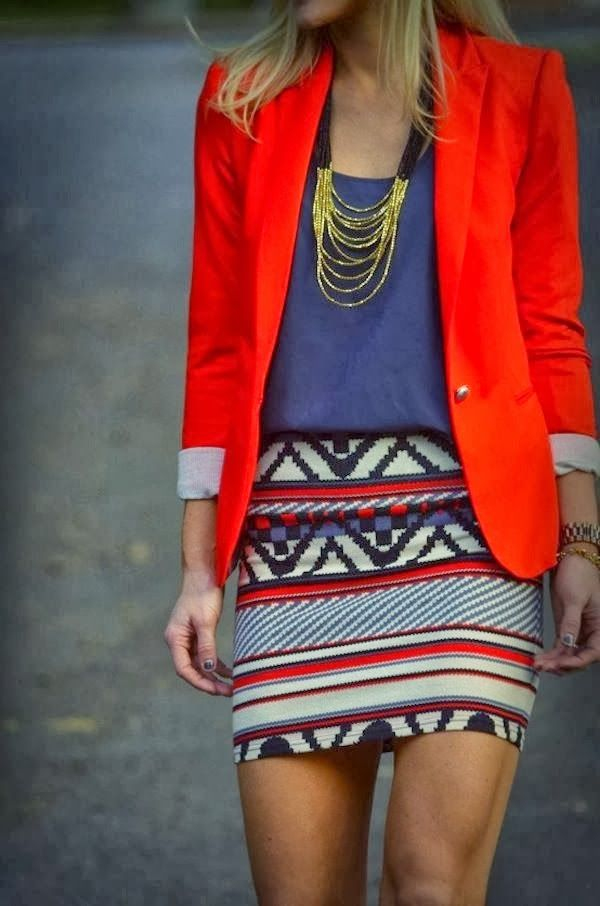 Hot Red Blazer With Patterned Mini Skirt