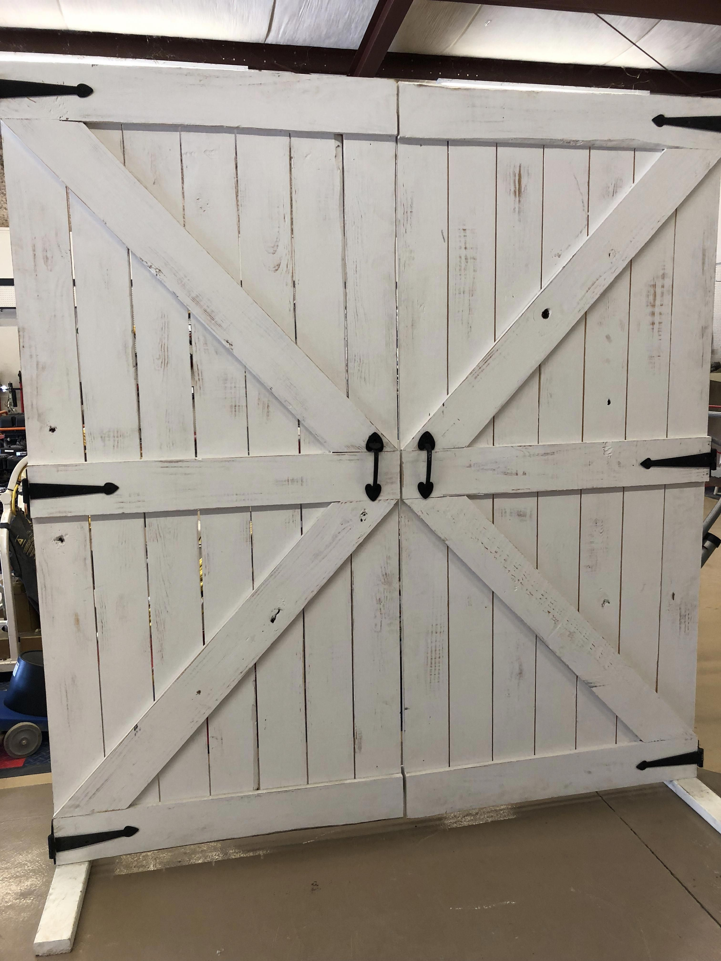 White Distressed Wooden Barn Doors With Hinges Wooden Barn Doors Garage Door Design Barn Door