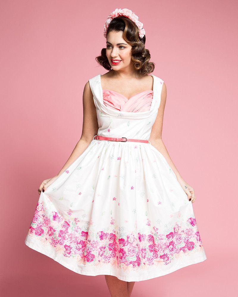 24be088a3da Ophelia  Enchanting 1950s Swing Dress in Cream Floral Border Print ...