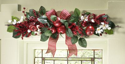 mesmerizing apple kitchen wall decor | Country Check Apple Blossom Floral Swag | Apple Kitchen ...