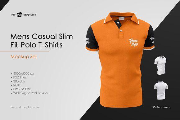 af8ea9da164d Mens Casual Polo T-Shirts MockUp Set by Free-PSD-Templates on @ creativemarket