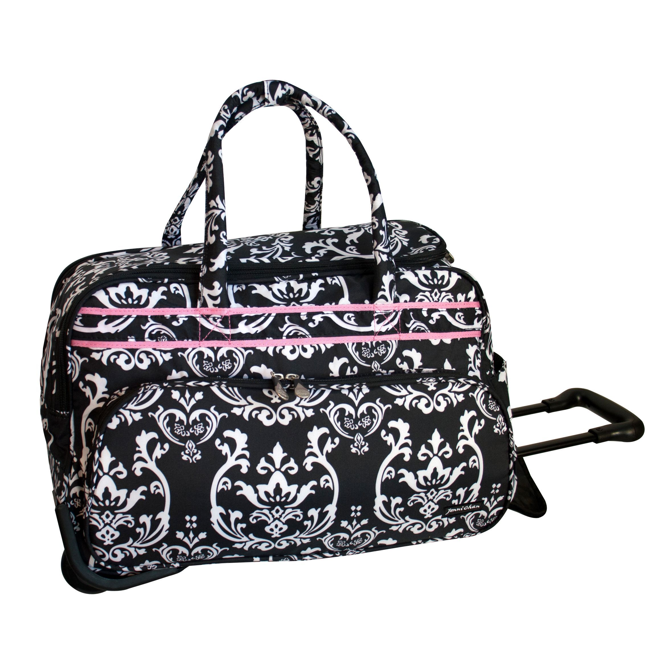 Jenni Chan  Pink 20-inch Carry On Rolling Upright Soft Duffel Bag ... 039254ff7bebb