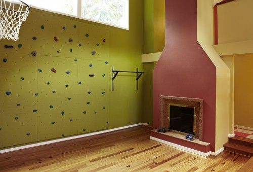 Awesome kids playroom: Basketball, rock climbing wall... Fireplace ...