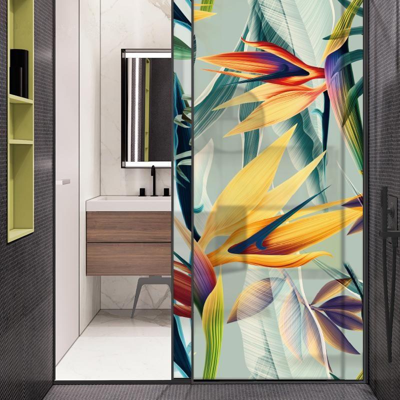 Photo of Fensterfolie ohne Kleber Static Cling Frosted Privacy Buntglastür Anti-UV-Badezimmerdekor Wohnkultur Digitaldruck BLT129