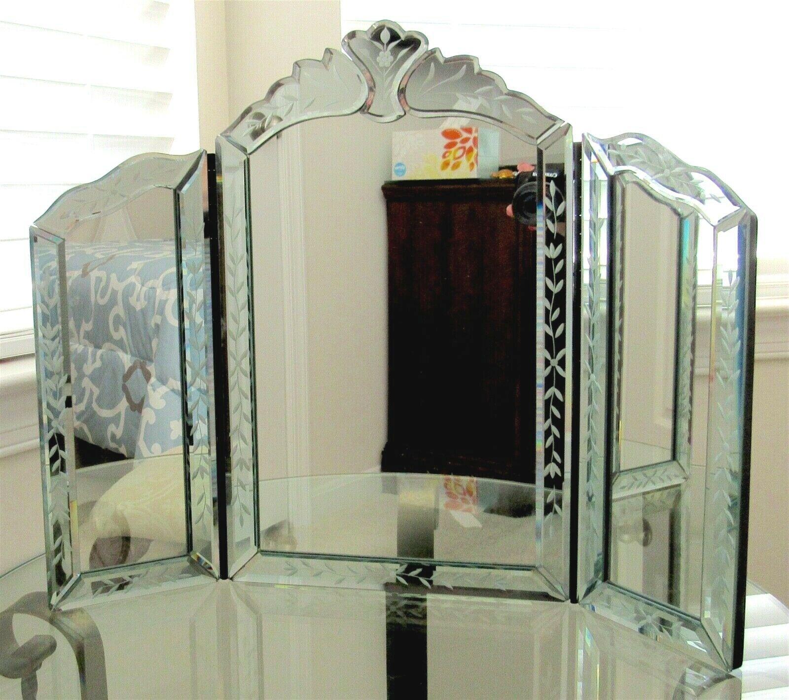 Vintage Venetian Vanity Mirror 3 Panel Tri Fold Frameless Tabletop
