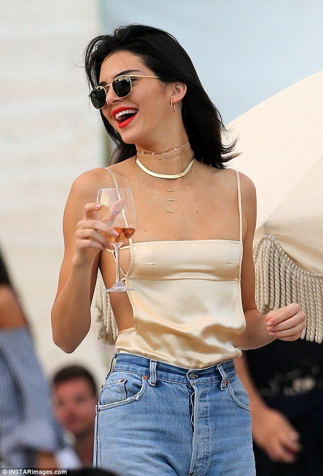 fecccd8987d Kendall Jenner wears ERTH 14k gold Tube Necklace 7 RINGS OF FRIENDSHIP  CHOKER MOONSTONE CHOOKER HOOP I TUBE NECKLACE SHOP THE LOOK FREE SHIPPING  ON ORDERS ...