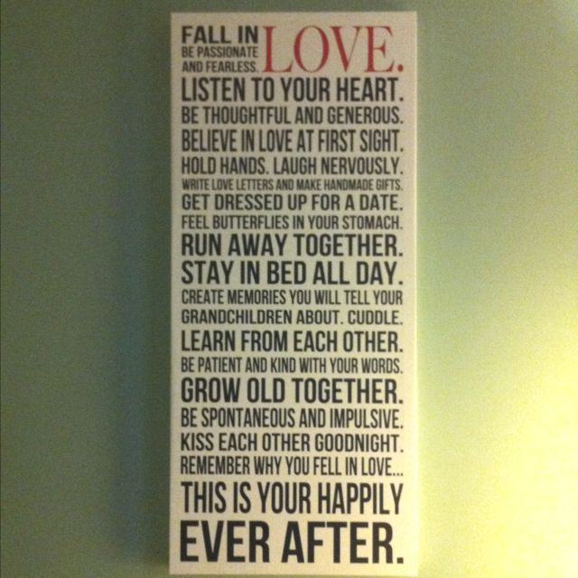 Cute Love Quotes For Wife: Fall In LOVE Quote Canvas. Cute For Husband/wife Bedroom