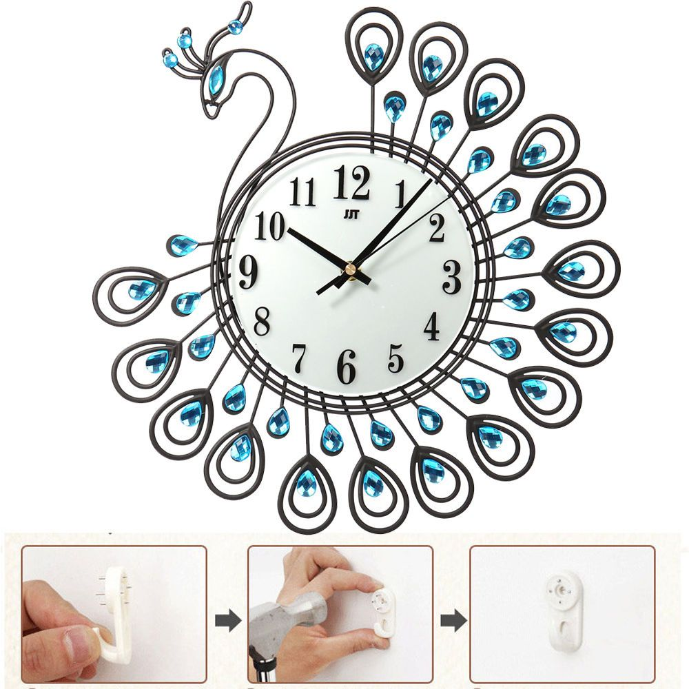 Vintage style metal peacock antique wall clock home office decor art