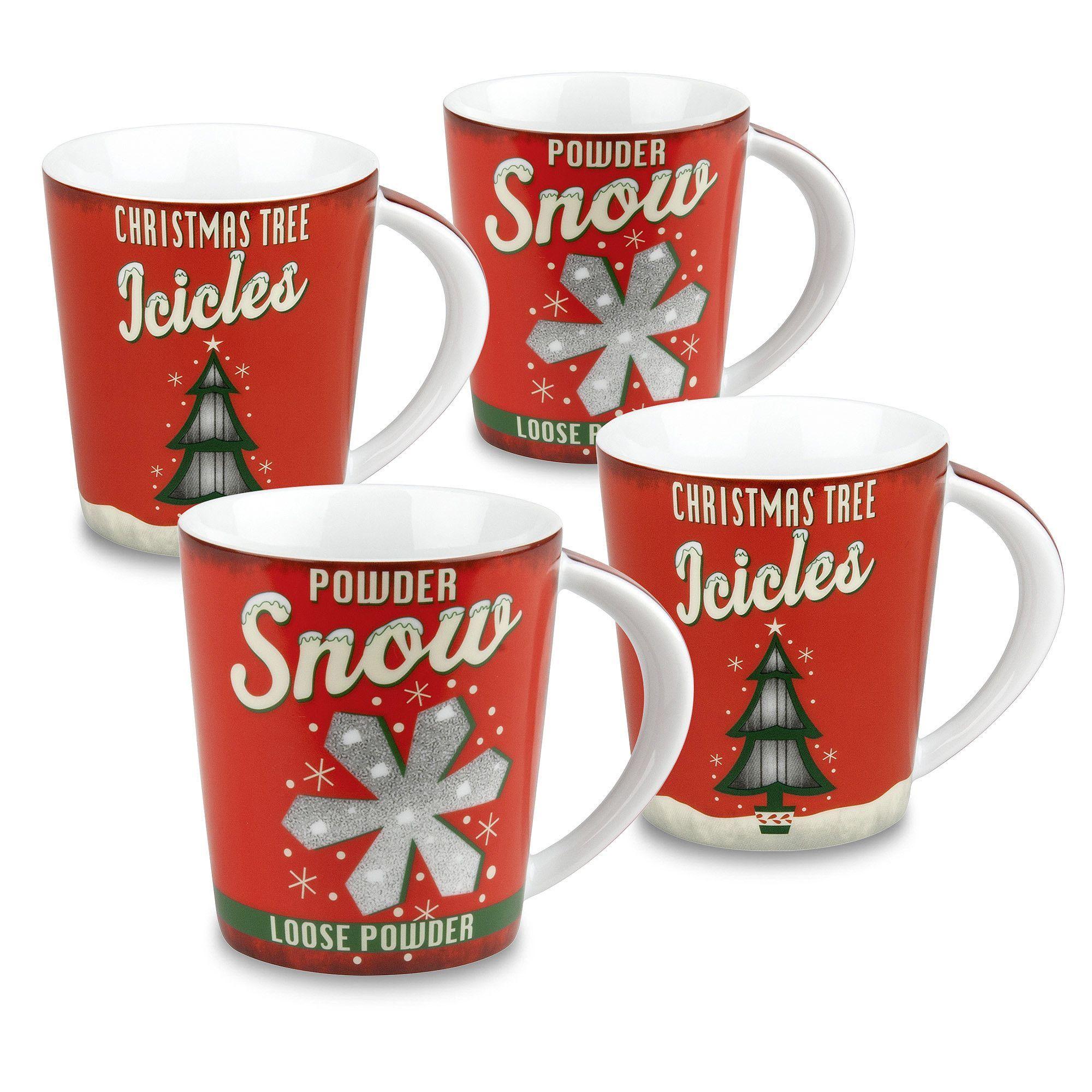Vintage 4 Piece Coffee Mug Set Christmas mug sets