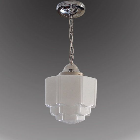 1920s 1930s milk glass skyscraper shade vintage art deco antique chandelier ceiling light fixture nickel