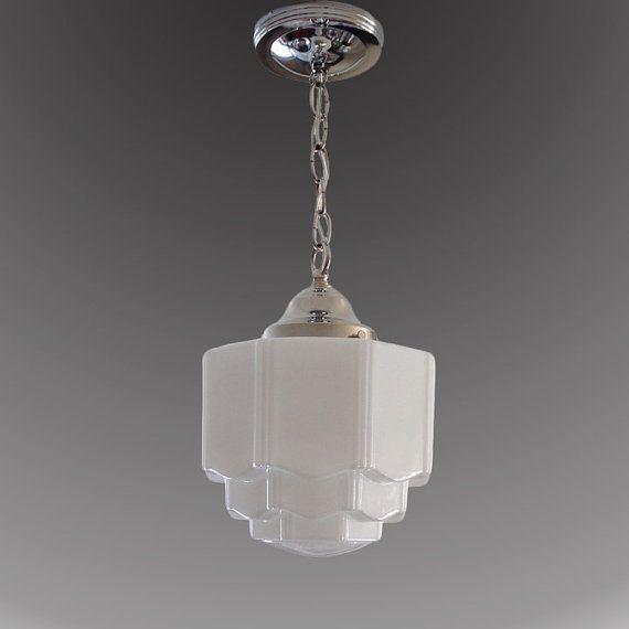 1920 S 1930 Milk Glass Skyser Shade Vintage Art Deco Antique Chandelier Ceiling Light Fixture Nickel