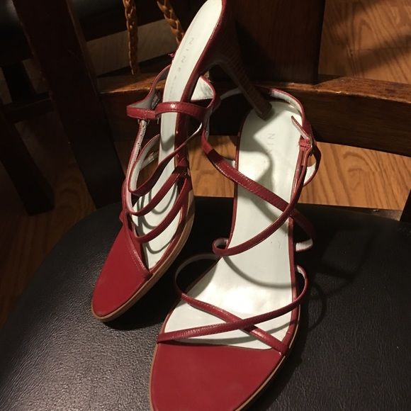 Nine West red strappy heels Red strappy open toed Nine West Shoes Heels