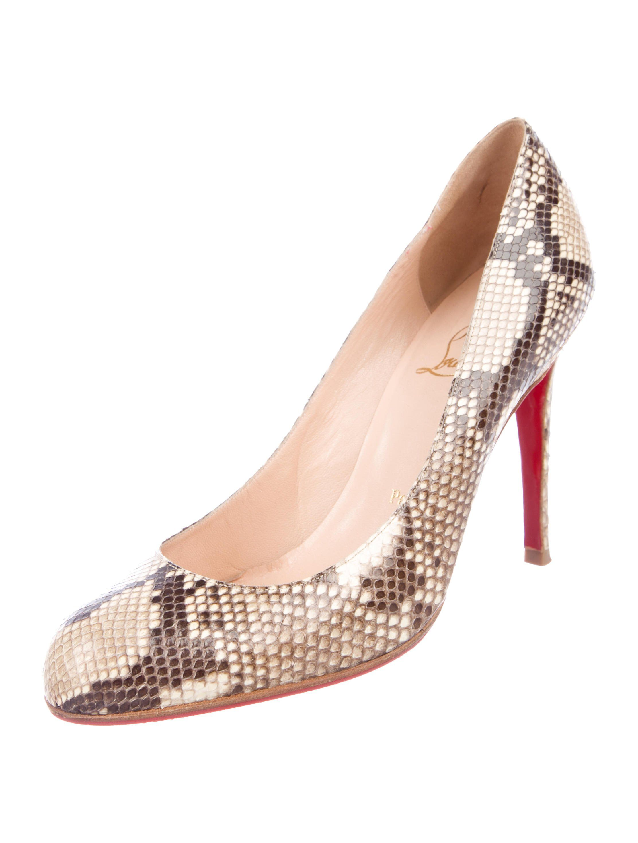 release date c28a3 8d4ce Tan snakeskin Christian Louboutin round-toe pumps with tonal ...