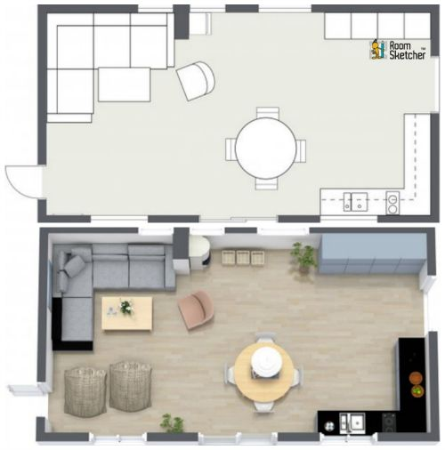 Great example comparison of a one room 2d floor plan for 2d room planner