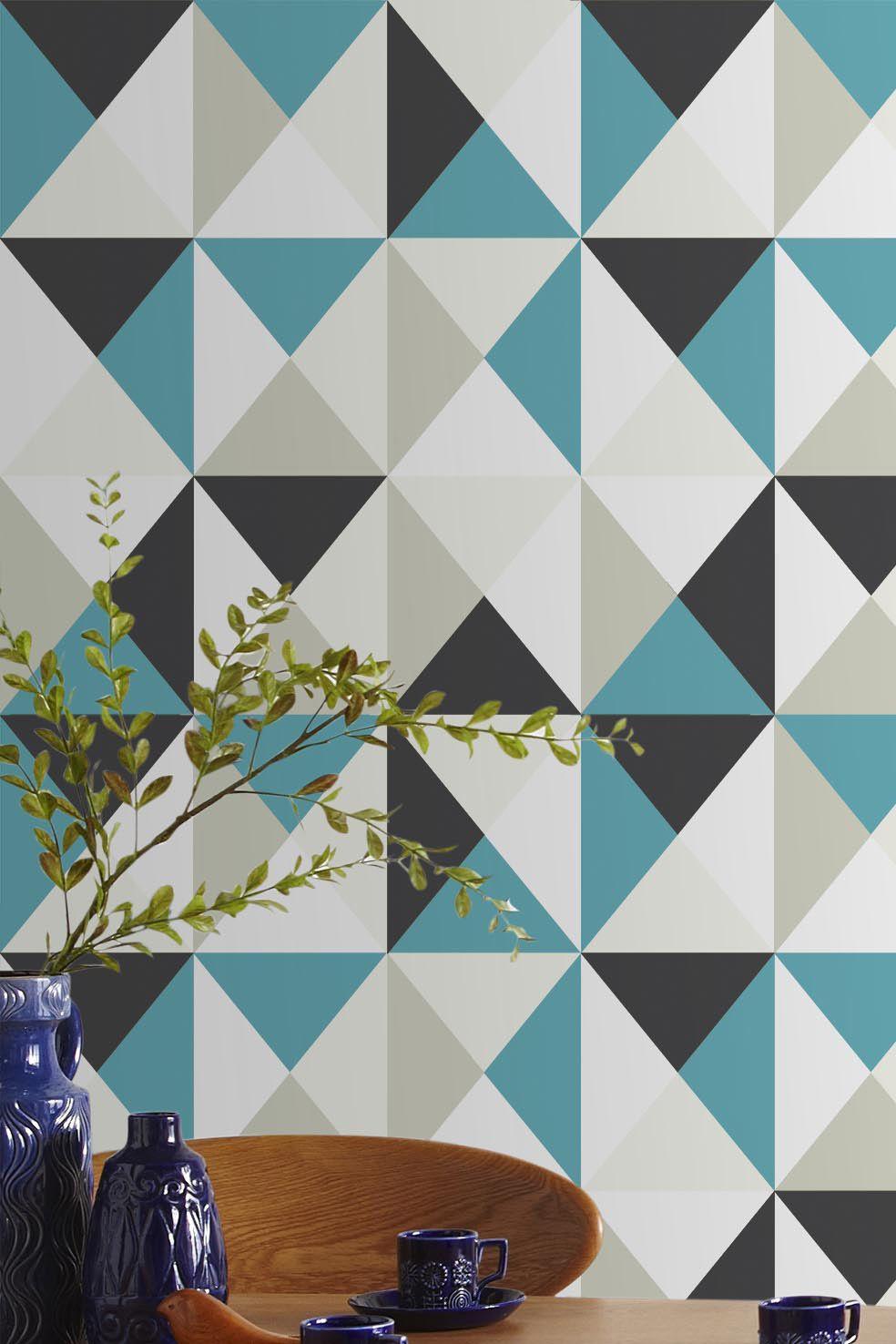 papier peint polygone multicouleur de leroy merlin papier peint peinture pinterest. Black Bedroom Furniture Sets. Home Design Ideas