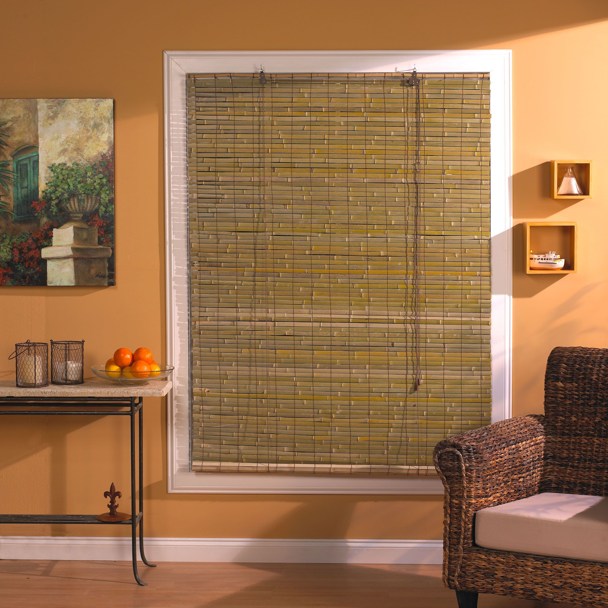 Beautiful Mini Blinds Lowes For Home Decoration Ideas Bamboo With Orange Wall