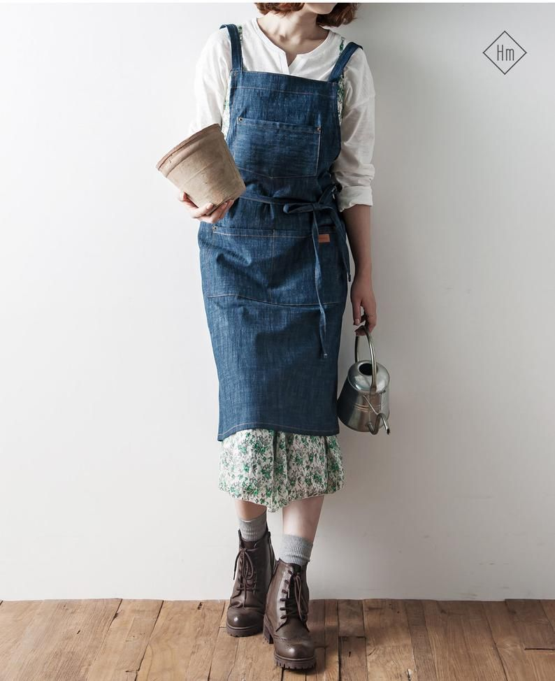 2 Pack Women Japanese Cotton Linen Bib Apron Cooking Coffee Shop Workwear