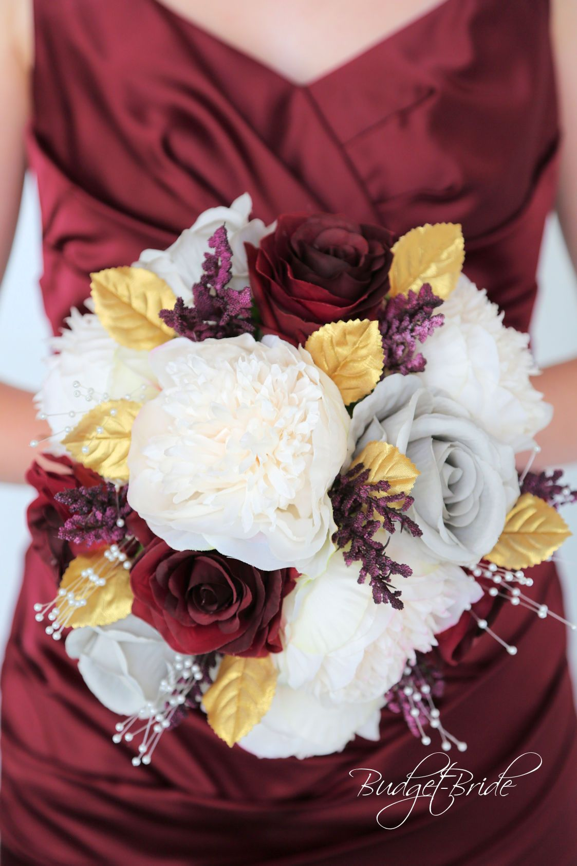Davids bridal wine wedding bouquet with wine roses grey roses and davids bridal wine wedding bouquet with wine roses grey roses and ivory peonies with gold izmirmasajfo
