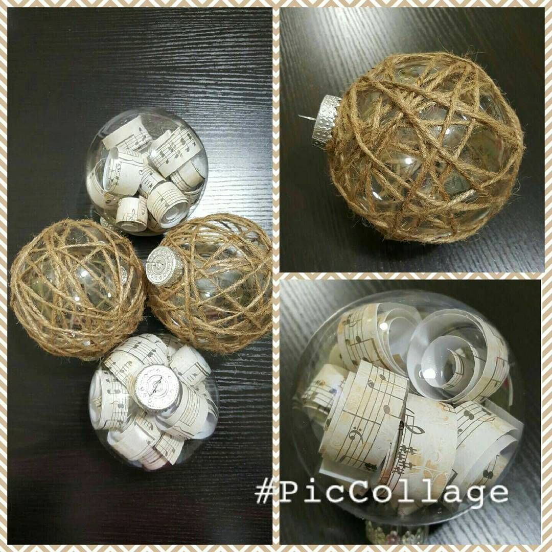 Twine and sheet music ornaments #idratherbecrafting #naturalchristmas