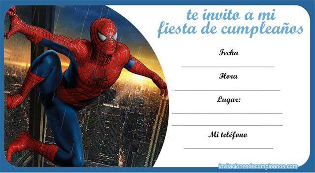 Pin De Maria De En Samu Cumpleaños Spiderman Invitaciones