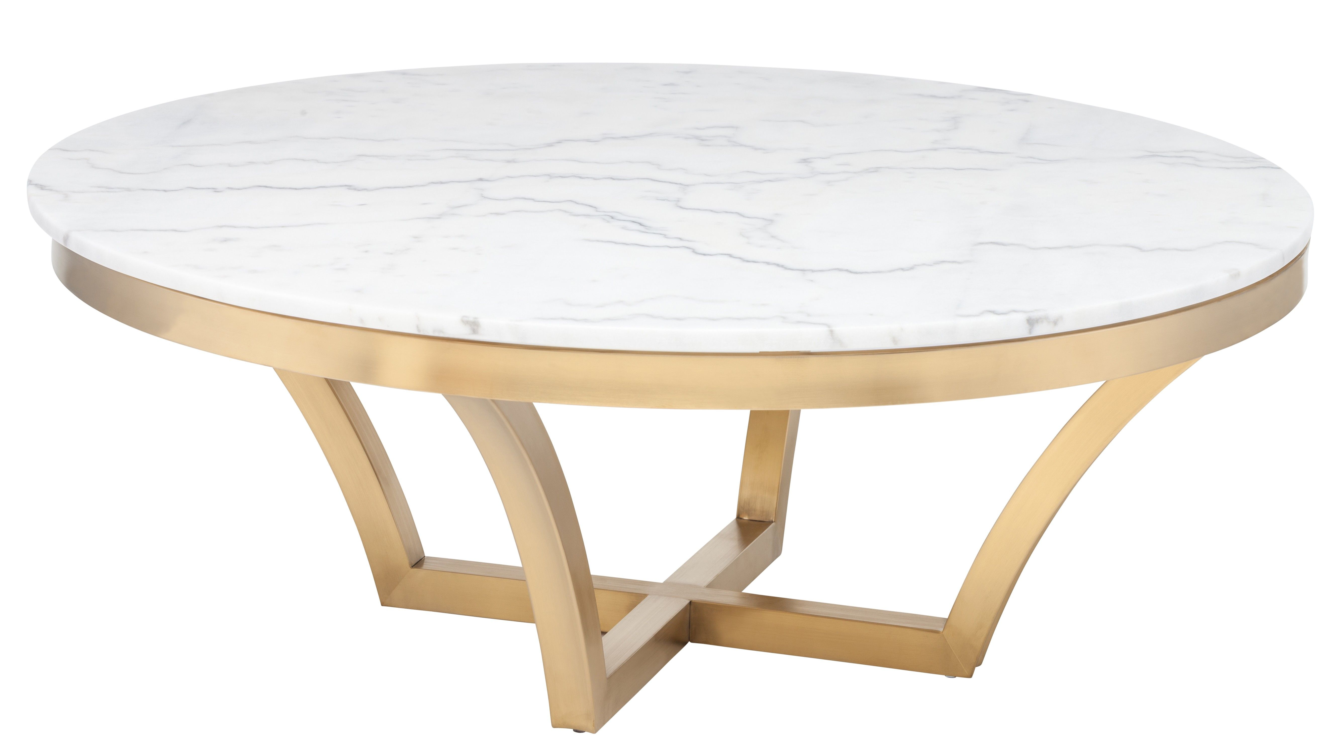 For A E Needing Pop Of Style We Suggest The Emmette Coffee Table With Simple Yet Elegant Brushed Gold Base And White Marble Top This Look Will
