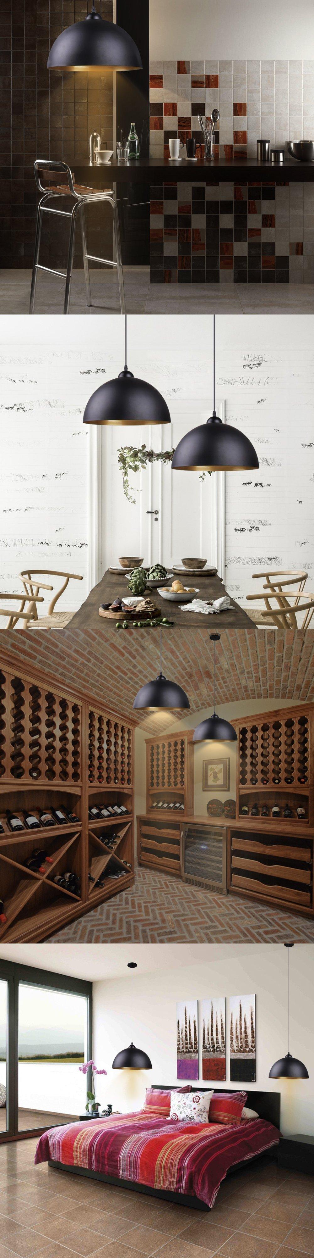BAYTTERR Design Industrielle Vintage LED Pendelleuchte Hngeleuchte Fr Leuchtmittel Schwarz Und Weiss Whlbar Wohnzimmer Esszimmer Restaurant Keller