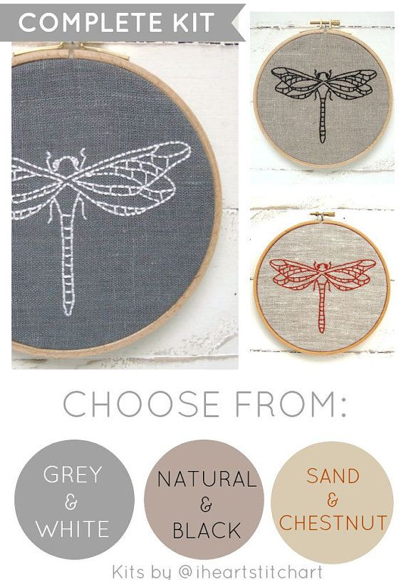Modern embroidery kit, dragonfly embroidery pattern, easy DIY hoop ...