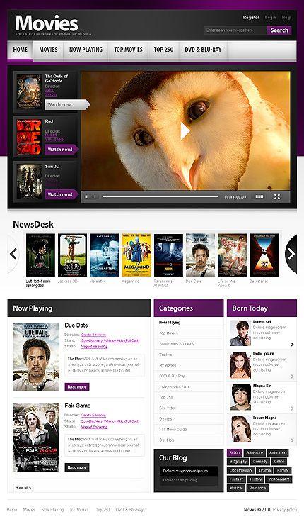 template 32601 movies portal website template media website