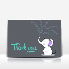 Elephant Baby Shower Thank You Card  Teal Turquoise And Purple