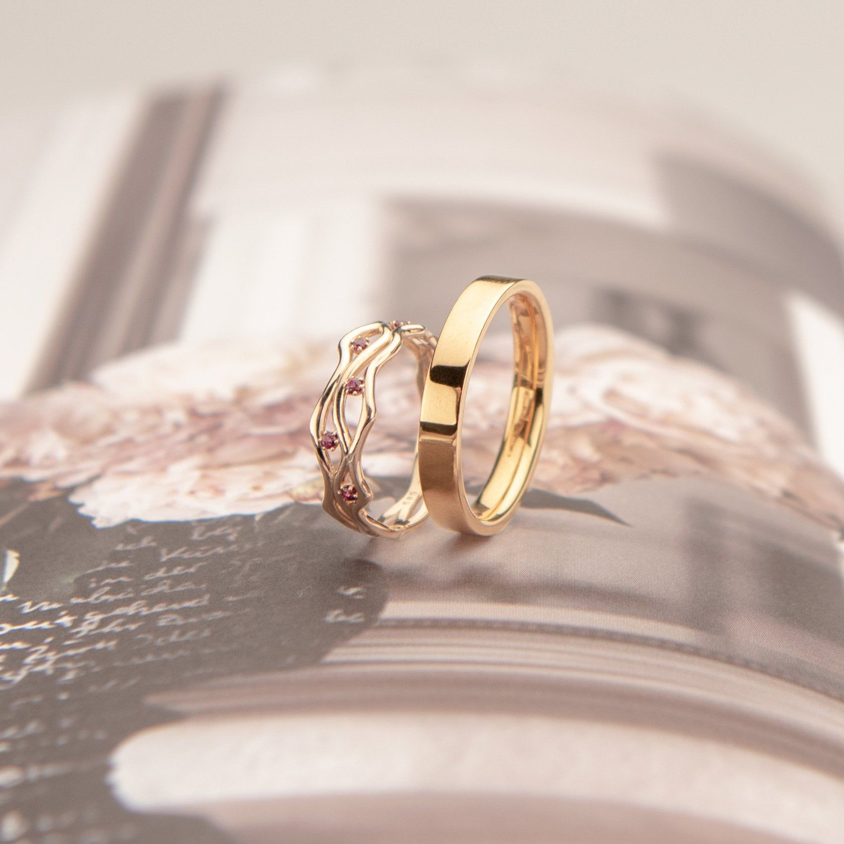 Wedding Rings In 14k Yellow Gold Boho Wedding Rings For Her And For Him Unique Wedding Bands Set Designs Boheme And New York In 2021 Boho Wedding Ring Unique Wedding Band