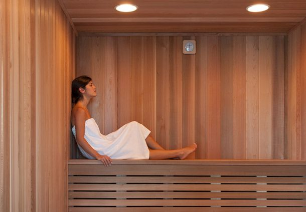 You are welcome to use our sauna and locker rooms before and after your service!