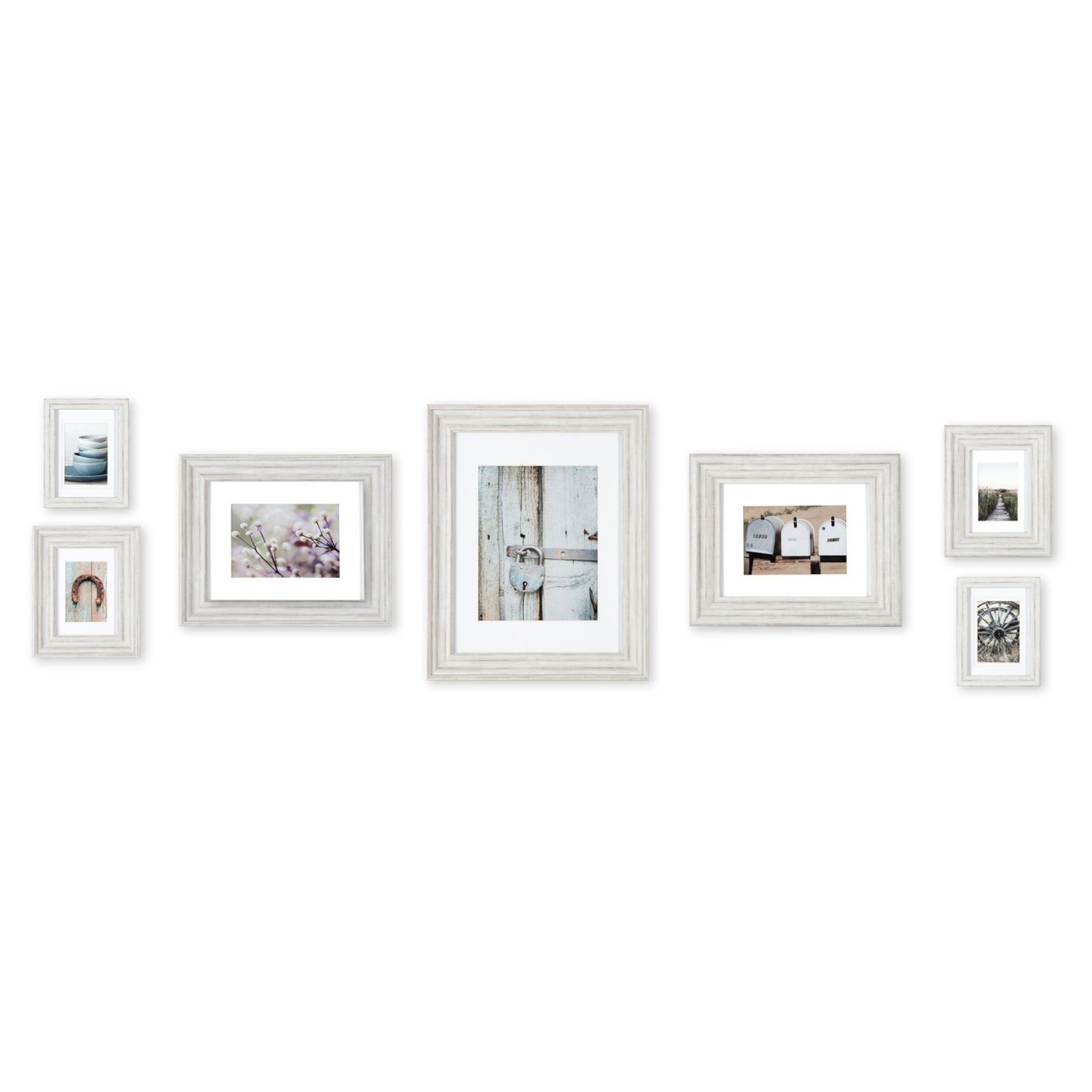 Nielsen Bainbridge Distressed White Mixed Pro Wall Picture Frame Kit