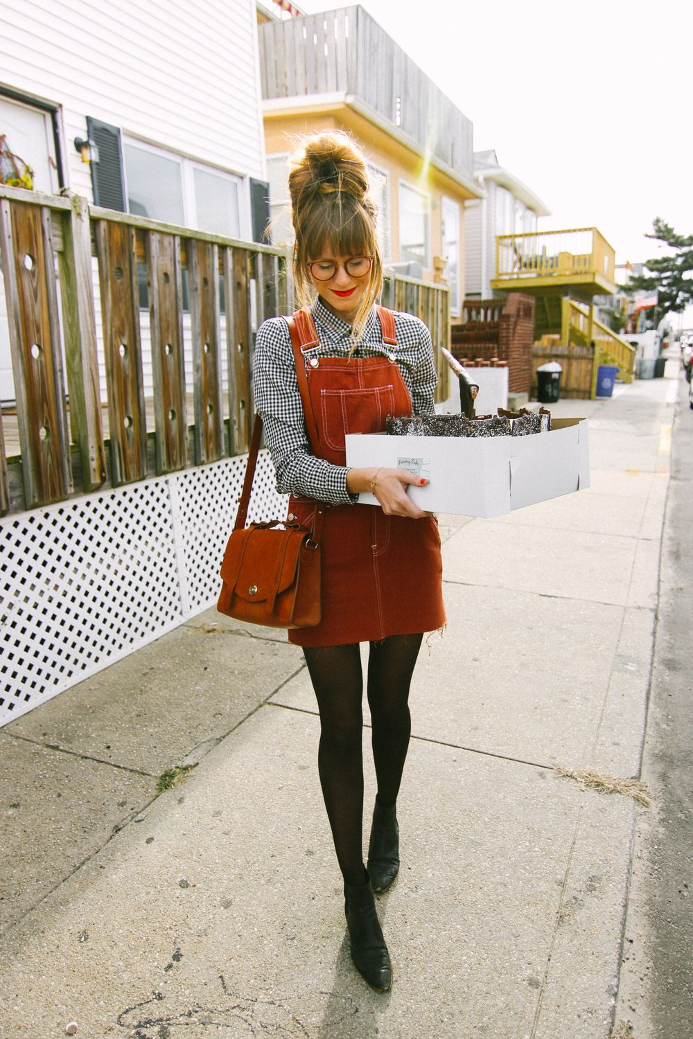 overall dress styled ways sheer tights chambray top and party