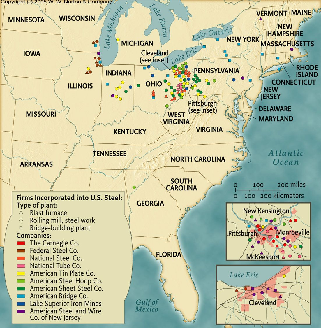 US Steel Firms  Gilded Age America Maps - Map of america wisconsin