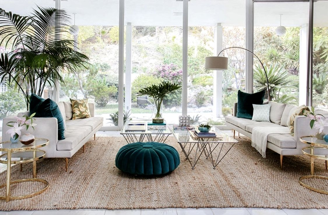 eclectic green living room decor  mid century modern