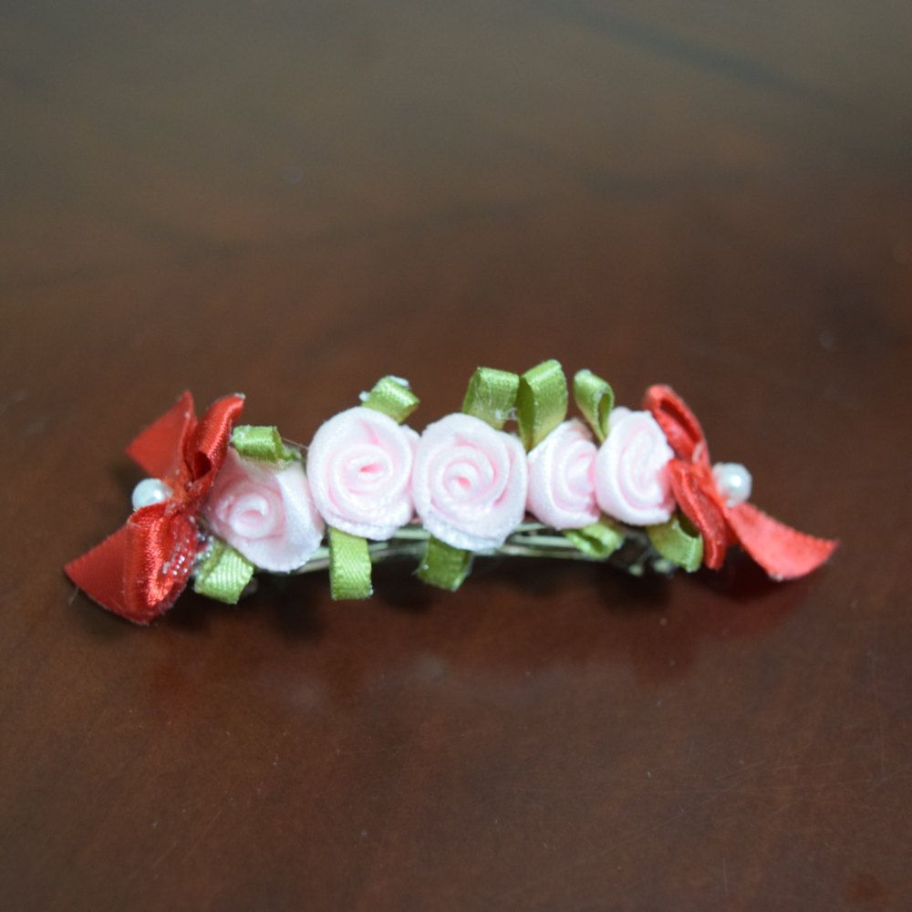 Mini Pink Roses and Red Bows Barrette by AlicornDream on Etsy