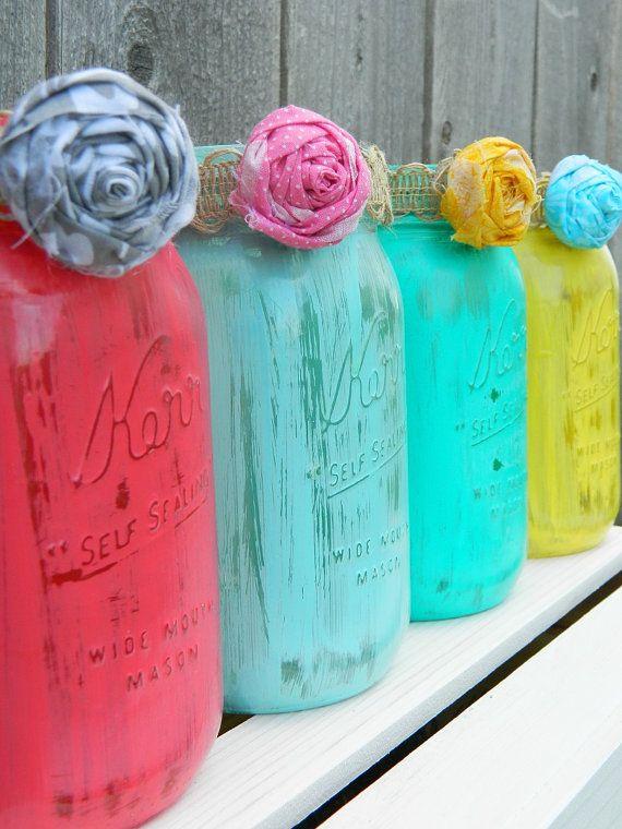 Shabby Chic Mason Jar Vase Painted - by whatsyoursigndesigns, $12.00