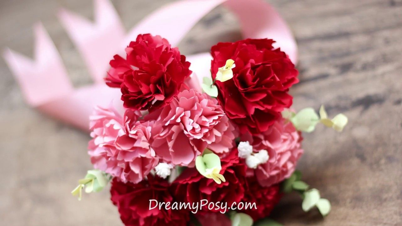 Diy Bridal Bouquet Of Paper Carnation Free Template Super Fast