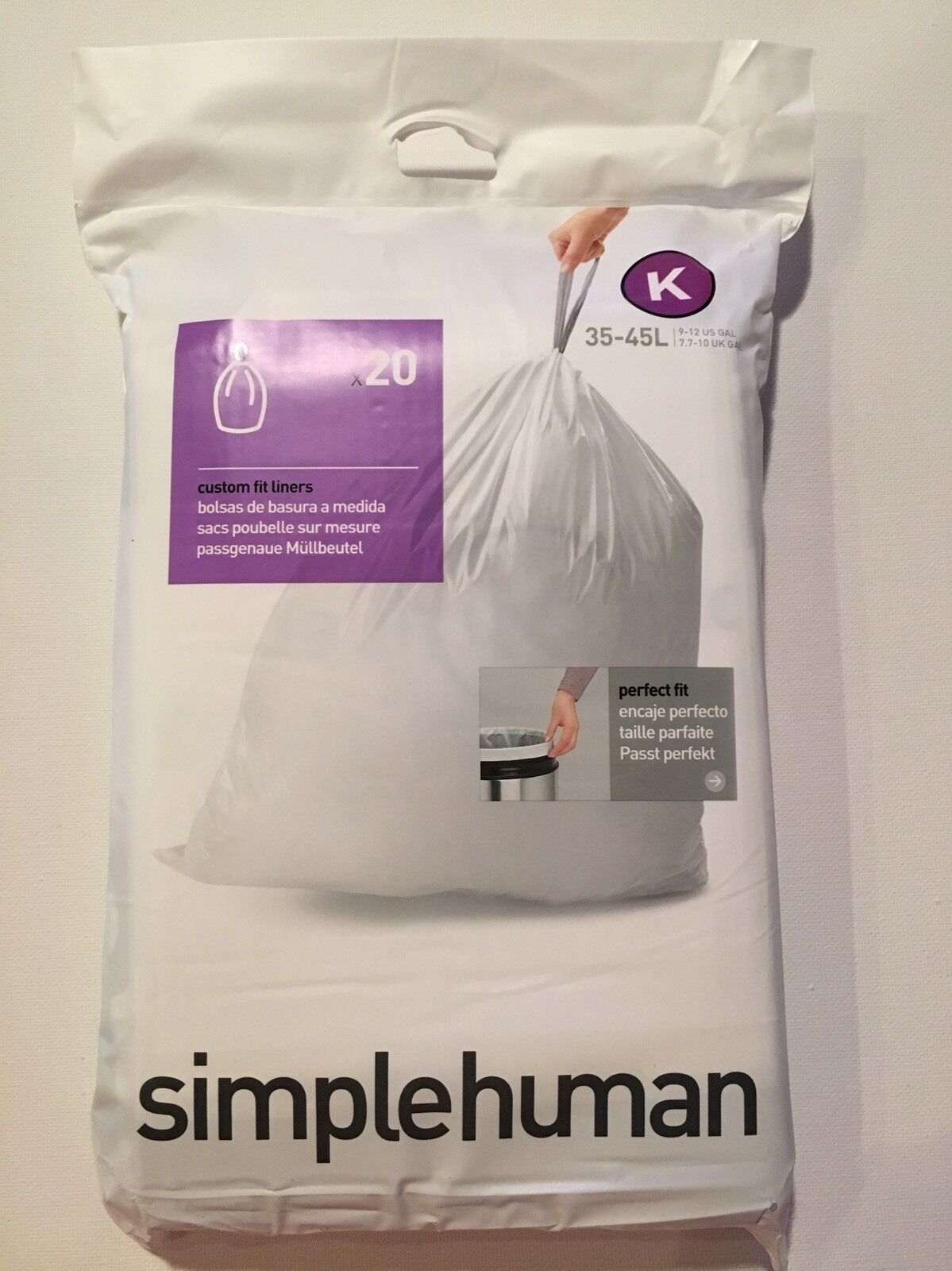 K Simplehuman Plastic Trash Can Liners K 9 12 Gallon 20 Pack Garbage Bags In 2020 Simplehuman Trash Can Garbage Can